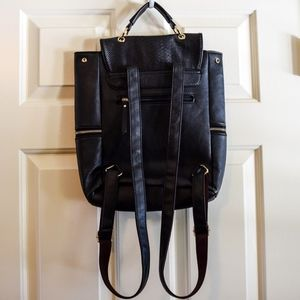 Bags - Black Snakeskin Faux Leather Backpack